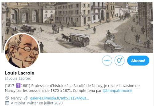 Capture du profil Twitter de Louis Lacroix, professeur d'université à Nancy en 1870